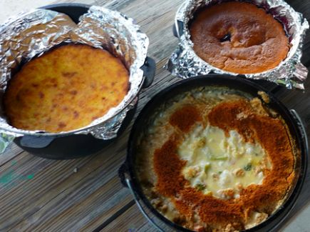 Finished meals in Dutch ovens. Photo courtesy Vicki Flowers.