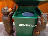 "Bears in a dumpster are more than a cute sculpture. ""A dumpster bear is usually a dead bear,"" says Snowshoe Mountain, WV president Bill Rock. At snowshoe, bears don't hibernate normally due to availability of food year round."